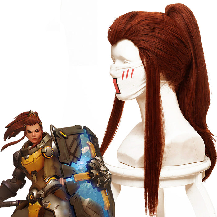 Game Overwatch(OW) DVA Brigitte Lindholm Long Red Brown Cosplay Wig Cosplay for Boys Adult Men Halloween Carnival Party