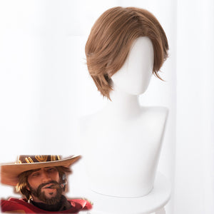 Game Overwatch(OW) Jesse Mccree 30cm Short Curly Brown Cosplay Wig Cosplay for Boys Adult Men Halloween Carnival Party