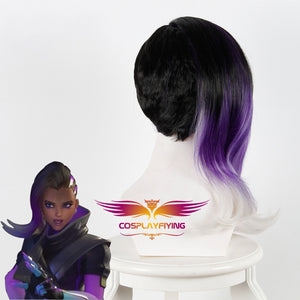 Game Overwatch(OW) Sombra 45cm Black Purple White Mixed Ombre Curly Cosplay Wig Cosplay for Girls Adult Women Halloween Carnival Party