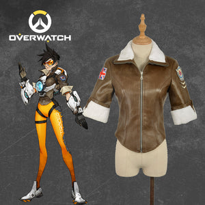 Game Overwatch OW Tracer Lena Oxton Nanosuit Jacket Coat Only Cosplay Costume Women Adult Halloween Carnival