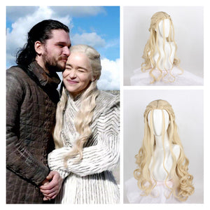 Game of Thrones 8 Dragon Mother Daenerys Targaryen Wave Curly Fluffy Cosplay Wig Cosplay Prop for Girls Adult Women Halloween Carnival Party