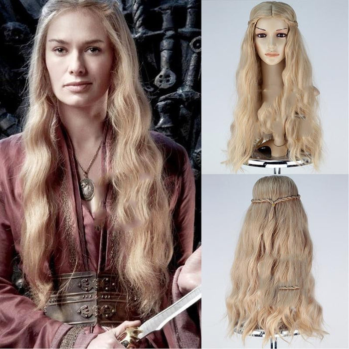 Game of Thrones Cersei Lannister Golden Fluffy Wavy Cosplay Wig Cosplay Prop for Girls Adult Women Halloween Carnival Party