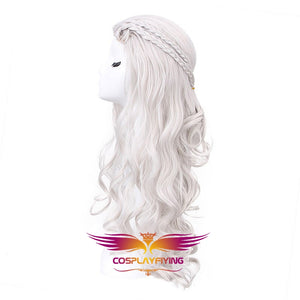 Game of Thrones Dragon of Mother Daenerys Targaryen Grey Long Wavy Cosplay Wig Cosplay Prop for Girls Adult Women Halloween Carnival Party