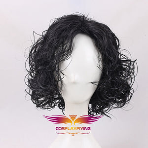 Game of Thrones Night's Watch Jon Snow Black Curly Short Cosplay Wig Cosplay Prop for Boys Adult Men Halloween Carnival Party