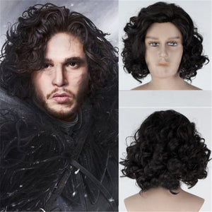 Game of Thrones Night's Watch Jon Snow Short Black Curly Cosplay Wig Cosplay Prop for Boys Adult Men Halloween Carnival Party