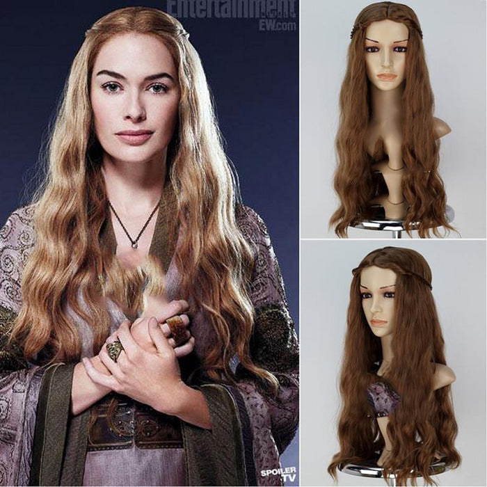 Game of Thrones Queen Cersei Lannister Brown Long Wavy Cosplay Wig Cosplay Prop for Girls Adult Women Halloween Carnival Party