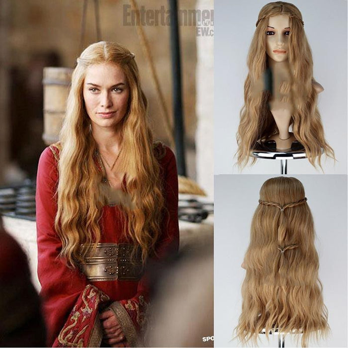 Game of Thrones Queen Cersei Lannister Light Brown Long Wavy Cosplay Wig Cosplay Prop for Girls Adult Women Halloween Carnival Party