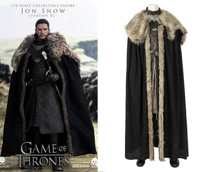 Game of Thrones Season 8 Jon Snow Aegon Targaryen Cosplay Costume Full Set with Cloak for Halloween Carnival