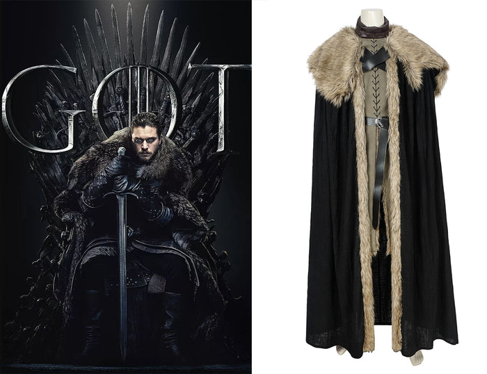 Game of Thrones Season 8 Jon Snow Full Set Cosplay Costume Version B for Halloween Carnival