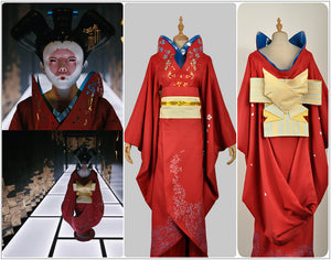 Ghost In The Shell Japan Geisha Robot Cosplay Costume Red Traditional Japanese Printed Kimono Girl Dress