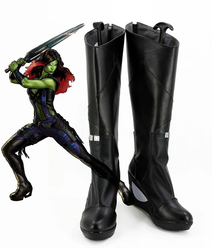 Guardians of the Galaxy Gamora Cosplay Shoes Boots Custom Made for Adult Men and Women