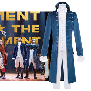 Hamilton Musical Alexandar Hamilton Cosplay Costume Dark Blue Uniform for Concert Carnival Halloween