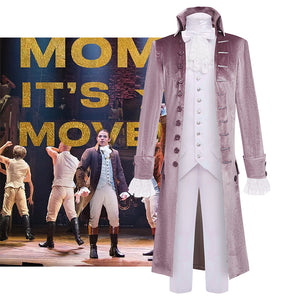 Hamilton Musical Alexandar Hamilton Cosplay Costume Light Purple Uniform for Concert Carnival Halloween