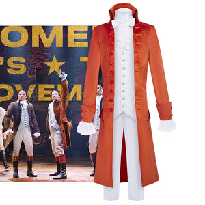Hamilton Musical Alexandar Hamilton Cosplay Costume Orange Uniform for Concert Carnival Halloween