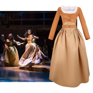 Hamilton Musical Angelica Brown Stage Dress Concert Cosplay Costume Version A Carnival Halloween