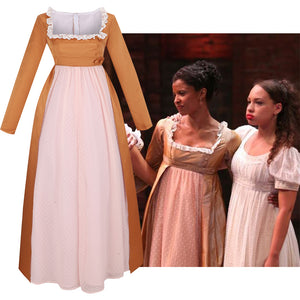 Hamilton Musical Angelica Pink Brown Stage Dress Concert Cosplay Costume Carnival Halloween