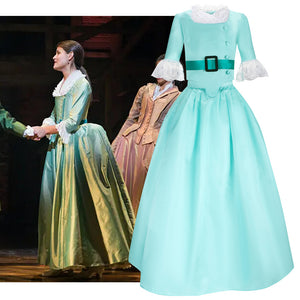 Hamilton Musical Elizabeth Schuyler Kids Version Child Size Blue Green Stage Dress Concert Cosplay Costume Carnival Halloween