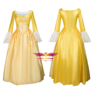 Hamilton Musical Peggy Light Yellow Stage Dress Concert Cosplay Costume Carnival Halloween