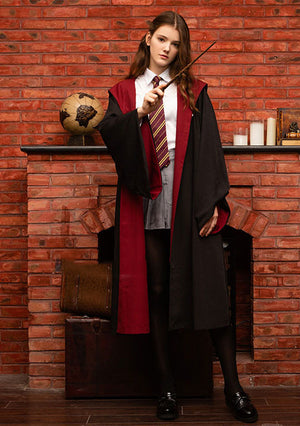 Harry Potter Hogwarts Gryffindor Slytherin Ravenclaw Hufflepuff Wizard Witch Robe Cloak+Tie Cosplay Costume Female Halloween Carnival Thick Version B
