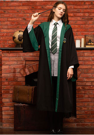 Harry Potter Hogwarts Gryffindor Slytherin Ravenclaw Hufflepuff Wizard Witch Robe Cloak+Tie Cosplay Costume Female Halloween Carnival Thin Version B