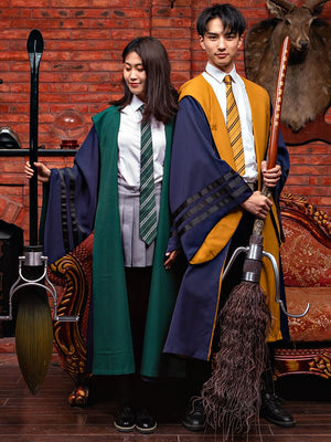 Fantastic Beasts and Where to Find Them Gryffindor Slytherin Ravenclaw Hufflepuff Robe Cloak+Tie Cosplay Costume Halloween Carnival Vintage Thin Version