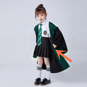 Kids Cosplay Harry Potter Hogwarts Gryffindor Slytherin Ravenclaw Hufflepuff Wizard Witch Robe Cosplay Costume for Halloween Carnival