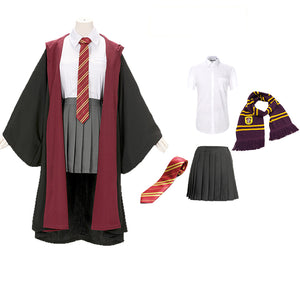 Harry Potter Hogwarts Gryffindor Slytherin Ravenclaw Hufflepuff Wizard Witch Robe Uniform Full Set Cosplay Costume Female Halloween Carnival Version A