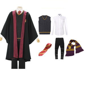 Harry Potter Hogwarts Gryffindor Slytherin Ravenclaw Hufflepuff Wizard Witch Robe Uniform Full Set Cosplay Costume Male Halloween Carnival Version A