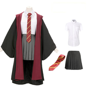 Harry Potter Hogwarts Gryffindor Slytherin Ravenclaw Hufflepuff Wizard Witch Robe Uniform without Scarf Cosplay Costume Female Halloween Carnival Version A