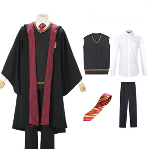 Harry Potter Hogwarts Gryffindor Slytherin Ravenclaw Hufflepuff Wizard Witch Robe Uniform without Scarf Cosplay Costume Male Halloween Carnival Version A