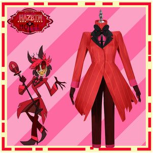 Hazbin Hotel Alastor Cosplay Costume Red Coat for Halloween Carnival Party