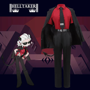 Helltaker the Awesome Demon Justice Black Uniform Cosplay Costume Halloween Carnival Party