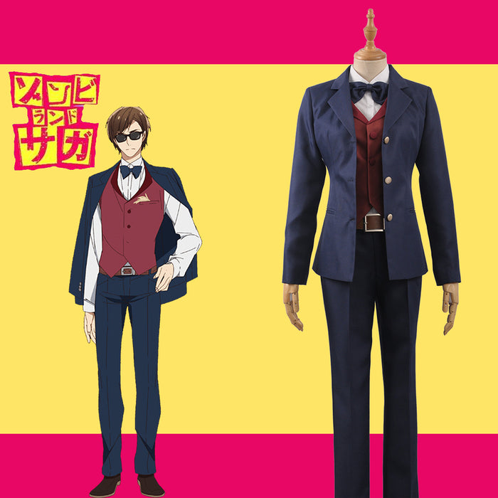 Horrible Anime ZOMBIE LAND SAGA Manager Boss Kotaro Tatsumi Uniform Suits Cosplay Costume for Carnival Halloween