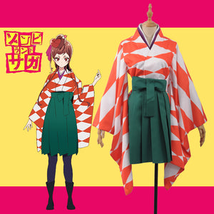 Horrible Anime ZOMBIE LAND SAGA Zonbii Yugiri Kimono Fancy Stage Girls Cosplay Costume for Carnival Halloween