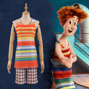 Hotel Transylvania 3: Summer Vacation 2018 Jonathan Shirt+Shorts Outfit Male Party Adult Men's Halloween Cosplay Costume