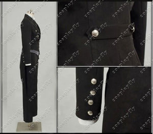 Black Butler 2 Kuroshitsuji Sebastian Deacon Black Jacket Uniform Clothing Jacket Shirt Vest Pants Cosplay Costume