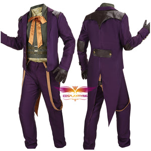 Injustice: God Among Us Joker Battle Christmas Outfit Purple Coat Vest Shirt Pants Cosplay Costume