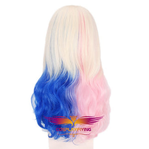 Joker and Suicide Squad Harleen Quinzel Harley Quinn Pink and Blue Long Central Ombre Cosplay Wig Cosplay for Girls Adult Women Halloween Carnival