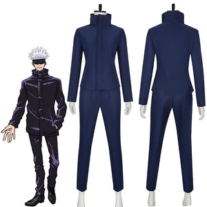 Jujutsu Kaisen Gojō Satoru Navy Blue Outfits Cosplay Costume for Halloween Carnival Party