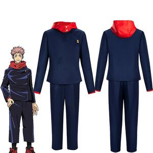 Jujutsu Kaisen Yuji Itadori Blue Suit Cosplay Costume for Halloween Carnival Party