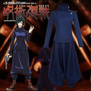 Jujutsu Kaisen Zen'in Mai Cosplay Costume Navy Blue Suit for Halloween Carnival