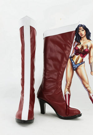 Justice League Wonder Woman Cosplay Shoes Boots Custom Made for Adult Men and Women