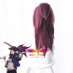 KDA League of Legends(LOL ) Akali The Rogue Murderer Mixed Purple Horsetail Cosplay Wig Cosplay for Adult Women Halloween Carnival