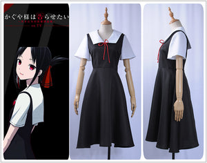 Kaguya-sama Love is War Kaguya Shinomiya Cosplay Costume Short Sleeve Black Dress for Women 2019 Sailor suit