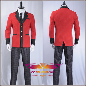 Kakegurui: Compulsive Gambler Manyuuda Kaede Suzui Ryota Cosplay Costume Custom Men Uniform Red Jacket Printed Pants Shirt Tie
