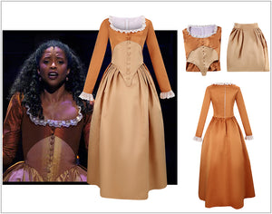 Kids Version Hamilton Musical Angelica Brown Stage Dress Version B Cosplay Costume Carnival Halloween