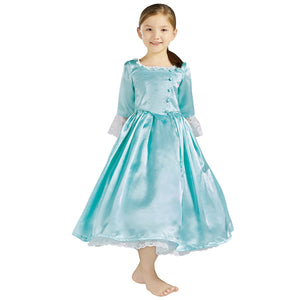 Kids Version Hamilton Musical Elizabeth Schuyler Light Blue Stage Dress Cosplay Costume Carnival Halloween