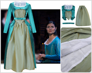 Kids Version Hamilton Musical Elizabeth Schuyler Satin Stage Dress Cosplay Costume Carnival Halloween
