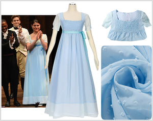 Kids Version Hamilton Musical Elizabeth Schuyler Sky Blue Stage Dress Cosplay Costume Carnival Halloween