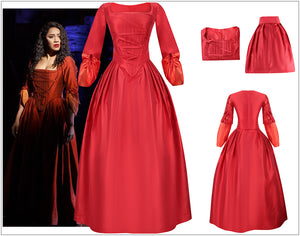 Kids Version Hamilton Musical Maria Reynolds Red Stage Dress Cosplay Costume Carnival Halloween